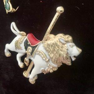 Vintage, large, colorful lion Carousel pin,